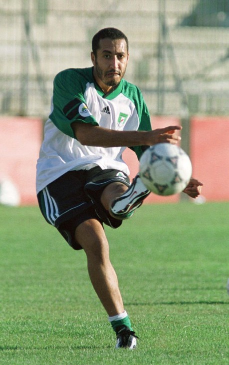LIBYAN LEADER GADDAFI'S SON MOAMMER GADDAFI CROSSES BALL DURING TRAINING SESSION
