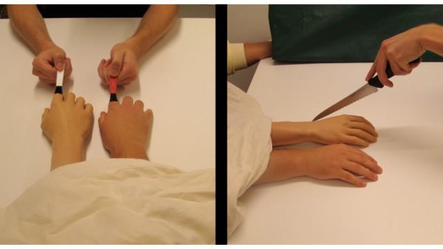 Hirnforschung: Das Gehirn der Versuchsteilnehmer in diesem Experiment tut sich schwer, zu entscheiden, welche der beiden Hände künstlich ist, und welche zum Körper gehört.