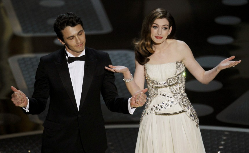 Co-hosts James Franco and Anne Hathaway take the stage during the 83rd Academy Awards in Hollywood