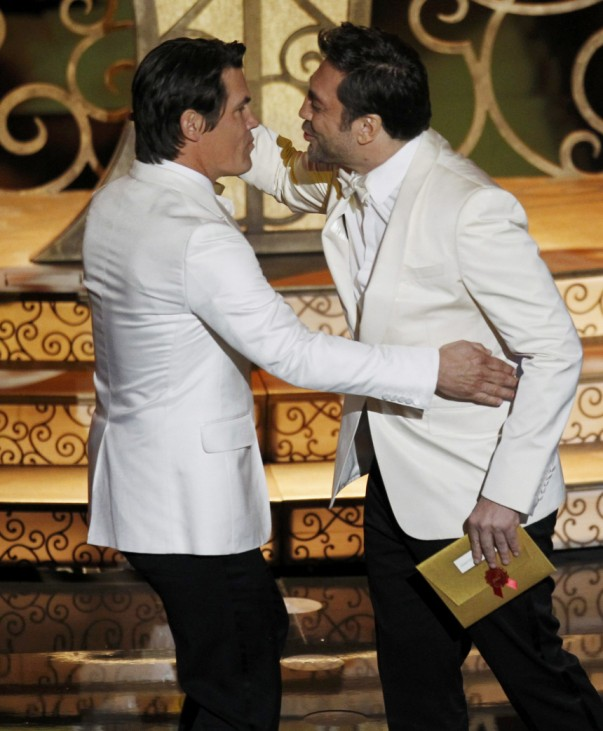 Presenter Javier Bardem of Spain embraces fellow presenter Josh Brolin during the 83rd Academy Awards in Hollywood