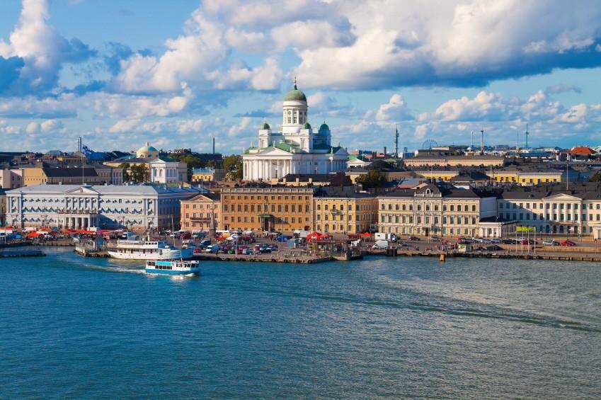 Helsinki, Finnland, Skyline, Stadt, Europa, Städtisches Motiv, Bauwerke, Sommer, Kathedrale, Blau, Alte