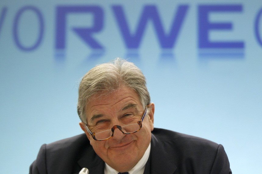 RWE CEO Grossmann smiles during the company's annual news conference in Essen