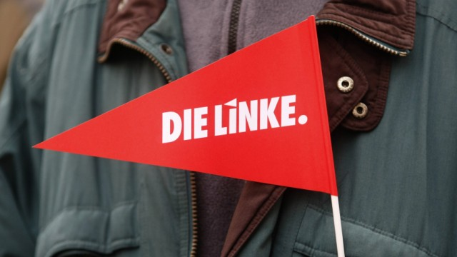 A paper flag of German left wing party 'Die Linke' is seen during an election campaign in Dortmund