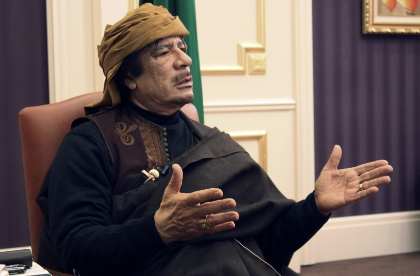 Libya's leader Gaddafi speaks during an interview with TRT Turkish television in Tripoli