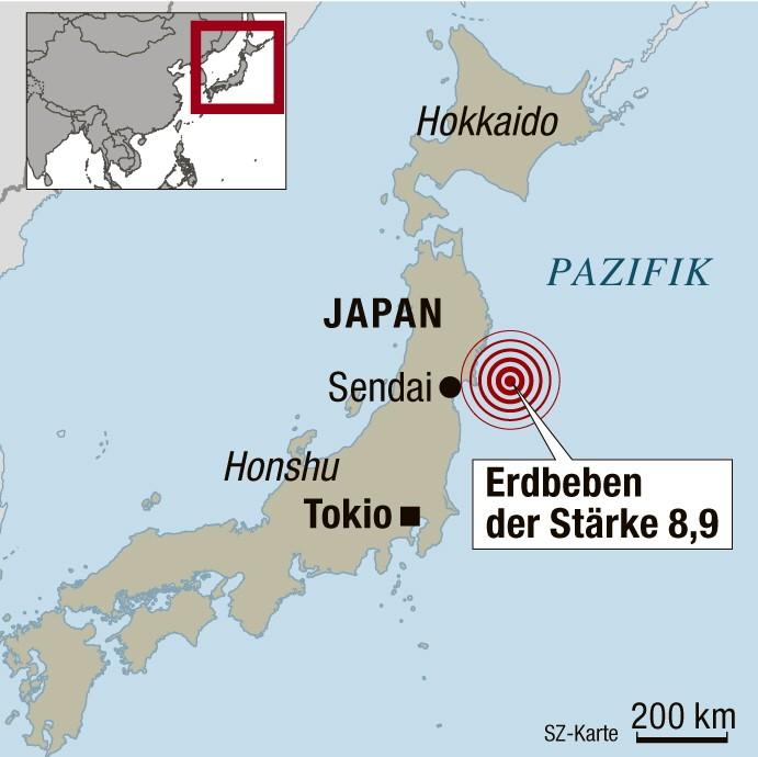 Japan Erdbeben 8,9 Sendai Honshu Pazifik Tsunami