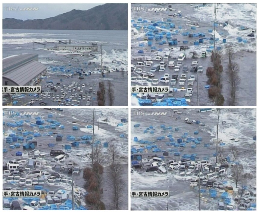 Combination picture shows cars and containers being swept by a tsunami wave in Miyako port in this sequence made from still images taken from video footage