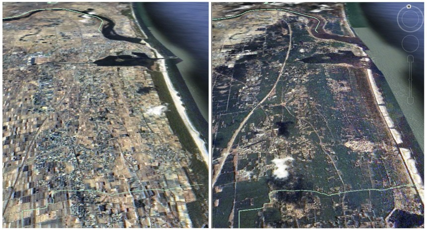 A combination picture of satellite images taken by Taiwan's National Space Organisation shows Japan Sendai area before and after the earthquake