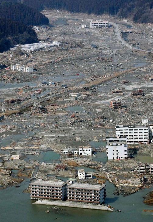 A swath of distruction caused by a tsunami is pictured in Minamisanriku, Miyagi Prefecture in northern Japan