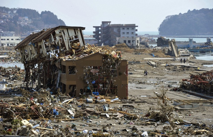 Buildings destroyed by a tsunami are pictured in northern Japan