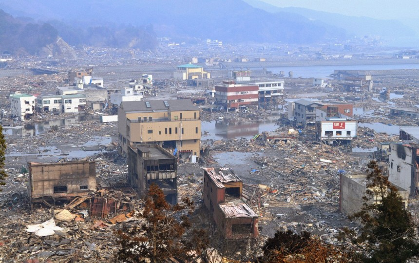 Destroyed landscape is pictured in Otsuchi town
