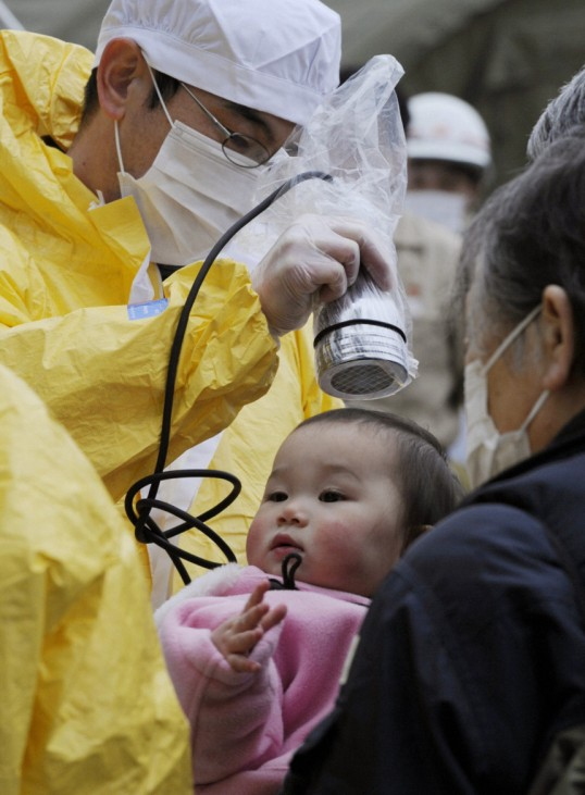 A baby is tested for radiation in Nihonmatsu, Fukushima Prefecture in northern Japan