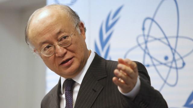 IAEA's Director General Yukiya Amano briefs the media at the United Nations headquarters in Vienna