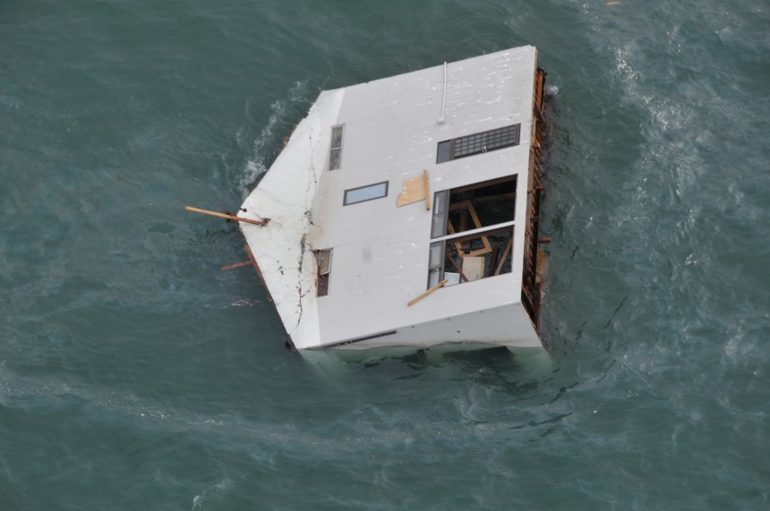 US Air Force handout photo of a house adrift in the ocean east of Sendai