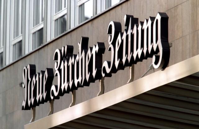 Logo am Hauptgebäude der Neuen Zürcher Zeitung