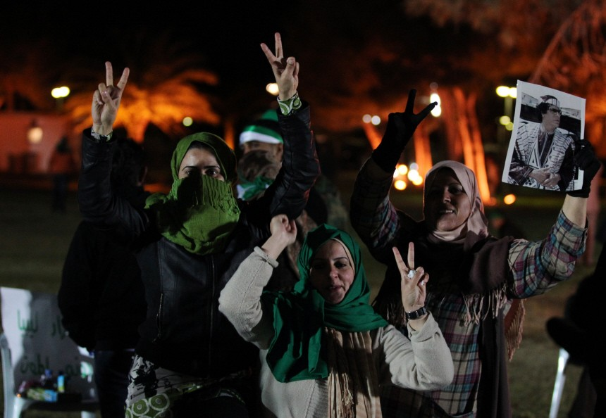 Supporters of Libya's leader Muammar Gaddafi
