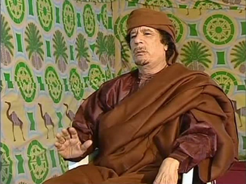 Frame grab of Muammar Gaddafi speaking during an interview with Portugal TV in Tripoli