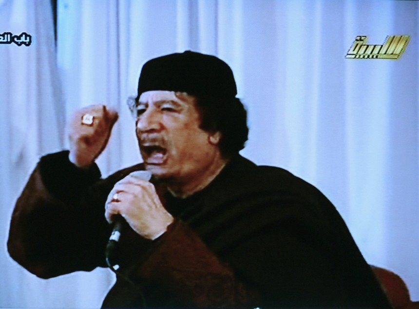 Video grab of Libya's leader Muammar Gaddafi appearing in a live broadcast on state television in Tripoli