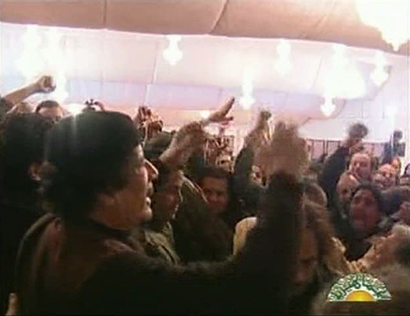 Frame grab of Libyan leader Muammar Gaddafi talking to members of the Zentan tribe in Tripoli