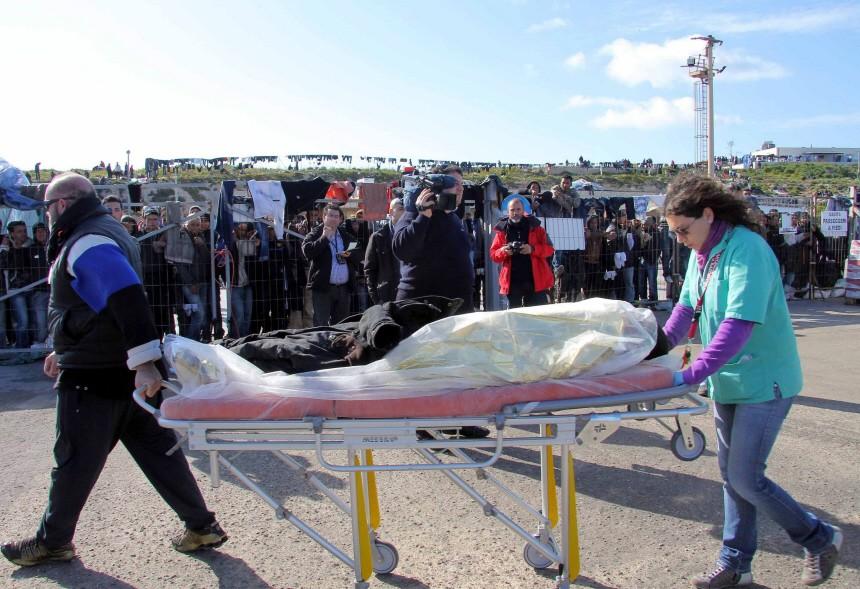 Immigrants arrive at the Italian island of Lampedusa