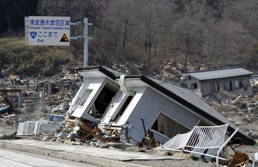 An area destroyed by the March 11 tsunami is seen in Otsuchi town