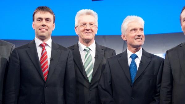 Die Landtagsspitzenkandidaten Roland Hamm (Linke), Nils Schmid (SPD), Winfried Kretschmann (Grüne), der baden-württembergische Justizminister Ulrich Goll  Stefan Mappus