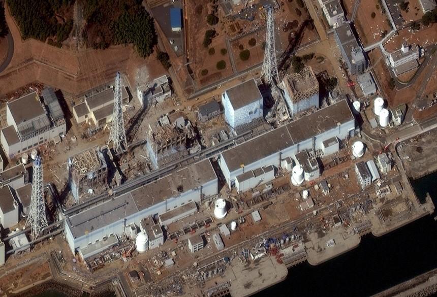 Satellite file image shows the damaged Fukushima Daiichi Power Plant
