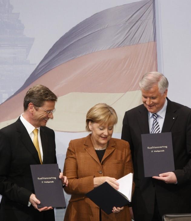 Guido Westerwelle, Horst Seehofer, Angela Merkel