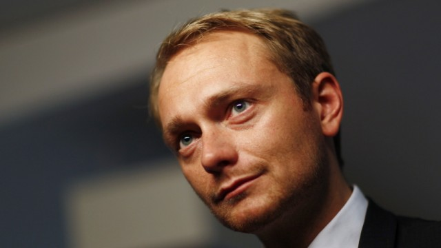 Free Democrat (FDP) Secretary-General Lindner is pictured during an interview with Reuters in Berlin