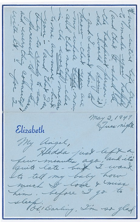 Publicity photo of letter from actress Elizabeth Taylor to her fiance William Pawley Jr.