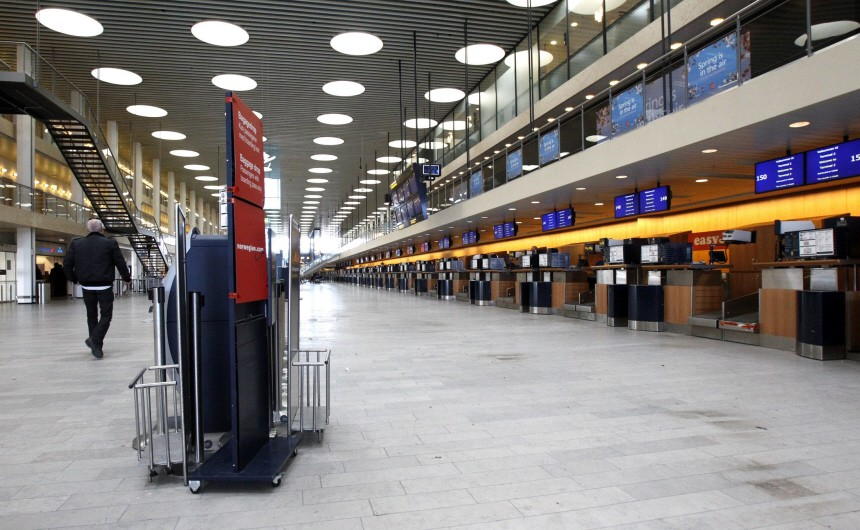 Copenhagen's Kastrup Airport is deserted after all flights were cancelled due to ash from an Icelandic volcano