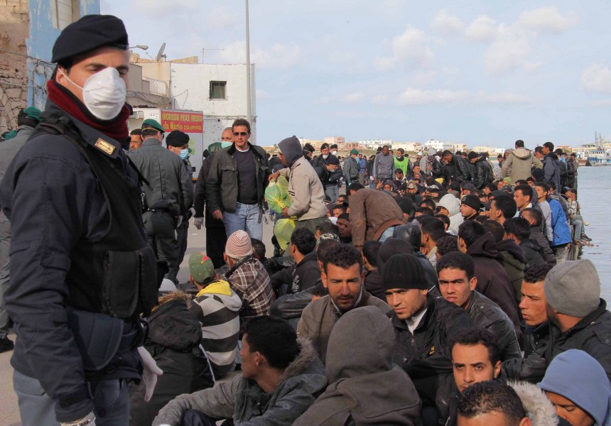 Italian island of Lampedusa immigrants crisis