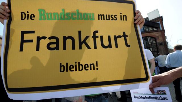 Demonstration von Mitarbeitern der Frankfurter Rundschau