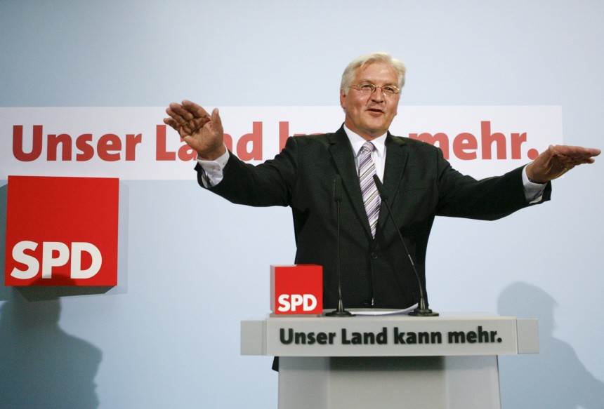 German Foreign Minister and candidate for chancellor of the Social Democratic Party (SPD)  Steinmeier speaks after first exit polls at his party headquarters in Berlin