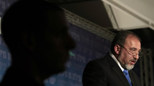 Israel's Foreign Minister Lieberman speaks during a convention of his Yisrael Beiteinu party in Jerusalem