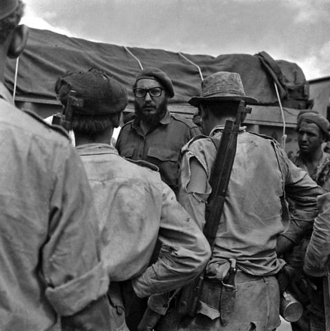 File photo of Cuban President Castro talking to Cuban Armed Forces members during Bay of Pigs invasion