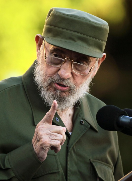 Former Cuban leader Fidel Castro speaks during a meeting with students at Havana's University