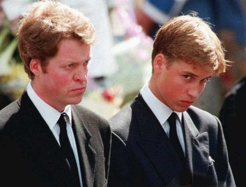 Prinz William und Earl Spencer beim Begräbnis Dianas, 1997