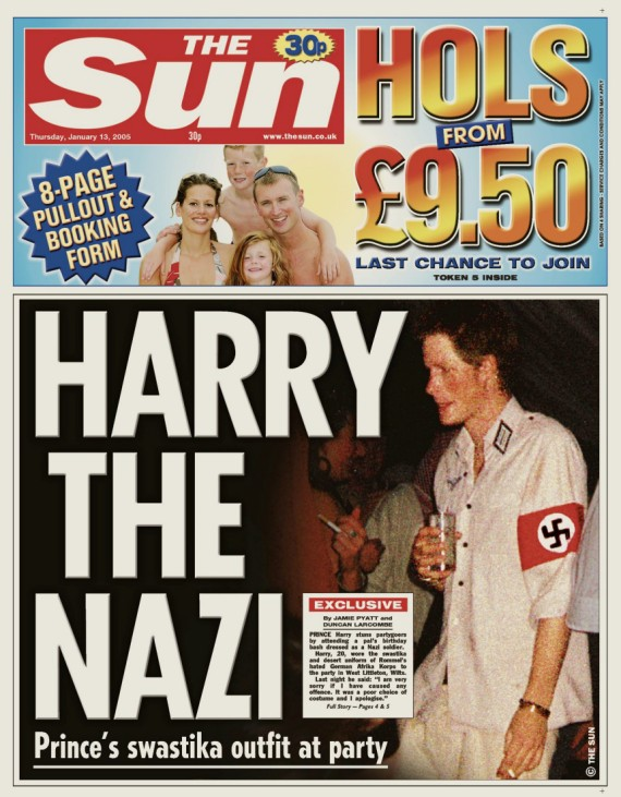 Electronic copy of front page of The Sun newspaper shows Britain's Prince Harry wearing swastika armband