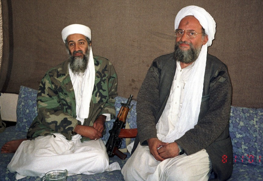 Osama bin Laden sits with his adviser and purported successor Ayman al-Zawahiri during an interview in Afghanistan
