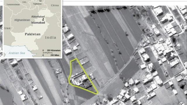 Seebestattung für Al-Qaida-Führer: CIA-Luftaufnahme der Villa in Nordpakistan: Von hier wurde Bin Ladens Leiche angeblich weggebracht