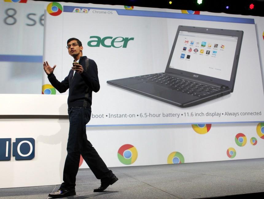 Sundar Pichai, senior vice president of Chrome at Google, announces an Acer notebook running Google Chrome OS during the keynote address