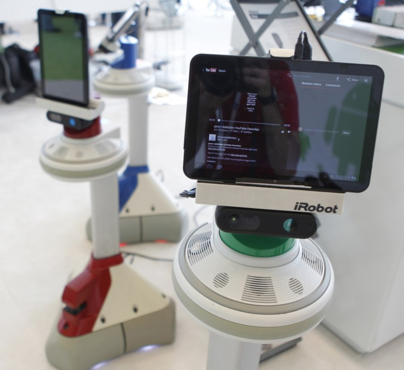 The iRobot Ava interacts with attendees at the Google I/O Developers Conference in the Moscone Center in San Francisco
