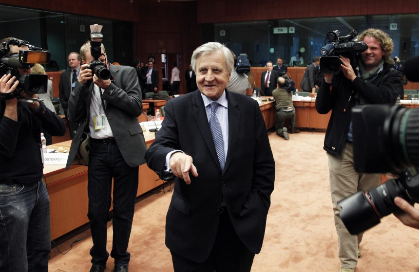ECB President Trichet arrives at an eurozone finance ministers meeting in Brussels