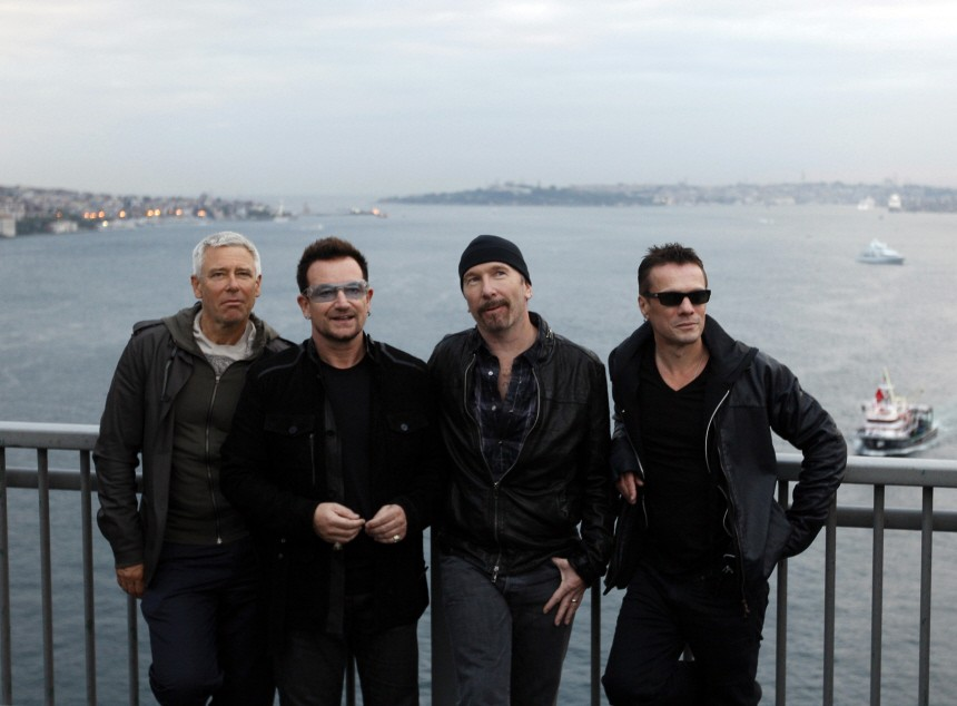 File picture shows members of Irish band U2 Clayton, Bono, The Edge and Mullen posing for media at Bosphorus Bridge in Istanbul