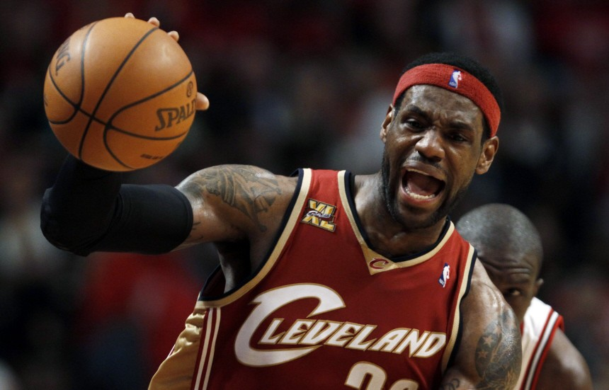 File picture shows Cleveland Cavaliers' LeBron James fighting for the ball in Chicago