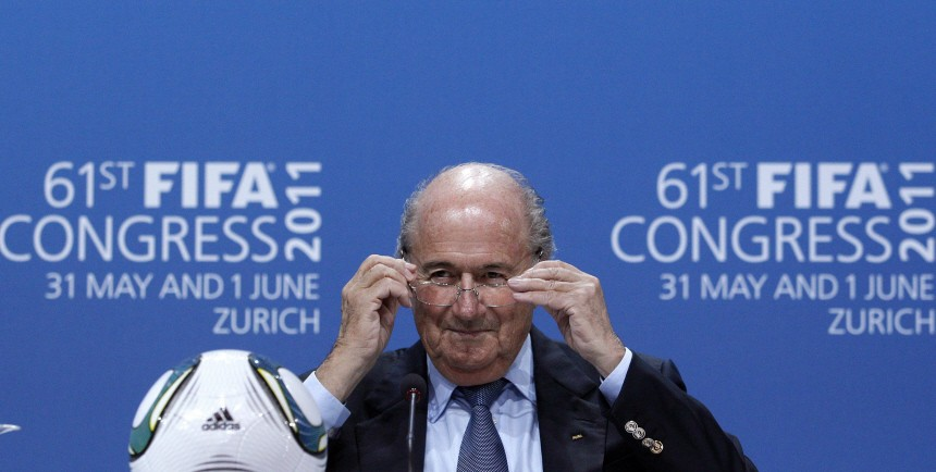FIFA President Blatter gestures during a news conference after being re-elected during the 61st FIFA congess at the Hallenstadion in Zurich