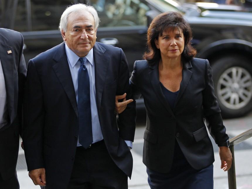 Former IMF Chief Strauss-Kahn arrives at Manhattan Criminal Court for an arraignment hearing in New York