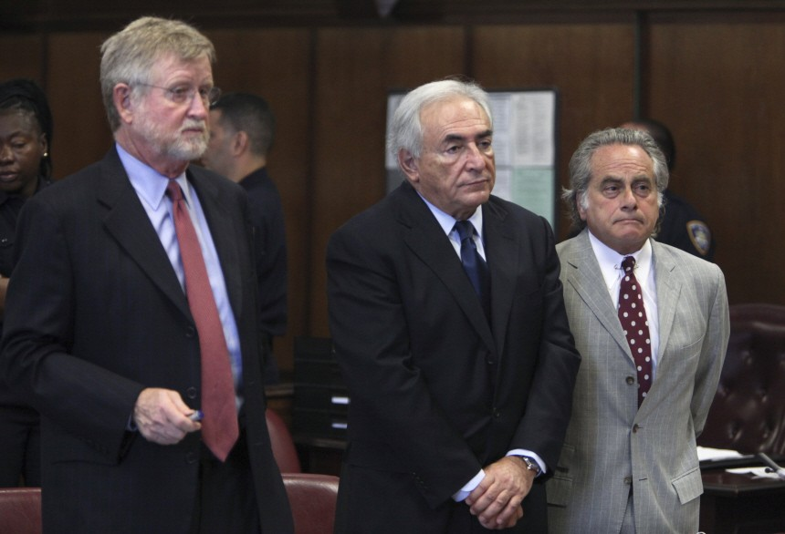 Former IMF chief Dominique Strauss-Kahn appears in New York Supreme Court during his arraignment hearing in New York