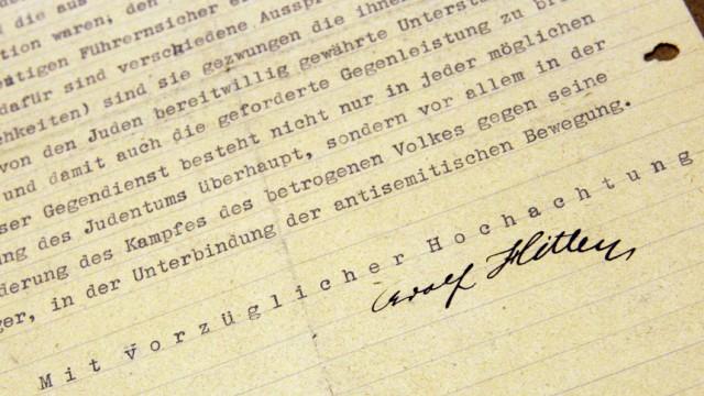 """Skizze des Holocaust: """"Mit vorzüglicher Hochachtung Adolf Hitler."""" In seinem Schreiben an den Soldaten Adolf Gemlich spricht sich der spätere Diktator bereits 1919 für die systematische Entfernung der Juden durch den Staat aus."""