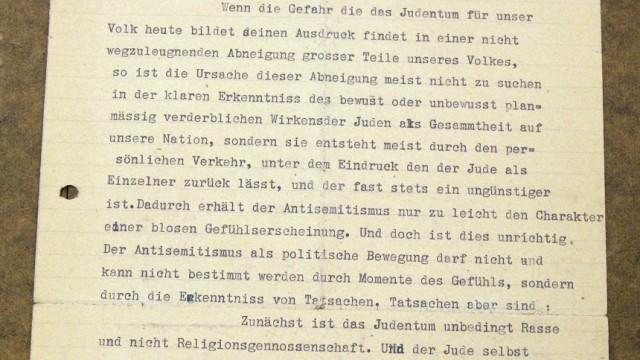 """Skizze des Holocaust: """"Unbedingt Rasse und nicht Religionsgemeinschaft"""" - im """"Gemlich-Brief"""" wird bereits deutlich, was Hitler nach seiner Machtübernahme schließlich in reale Politik umsetzte."""